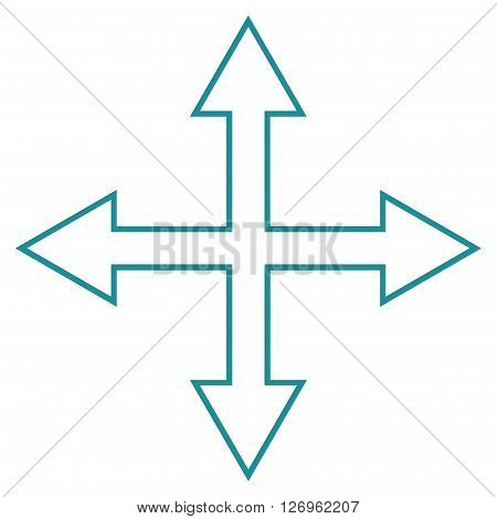 Maximize Arrows vector icon. Style is thin line icon symbol, soft blue color, white background.