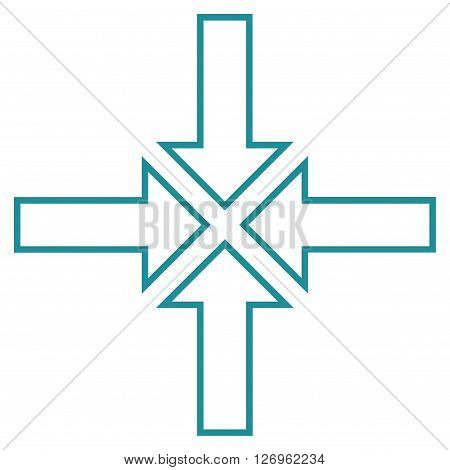 Meeting Point vector icon. Style is contour icon symbol, soft blue color, white background.