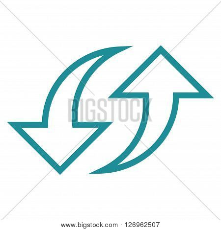 Replace Arrows vector icon. Style is contour icon symbol, soft blue color, white background.