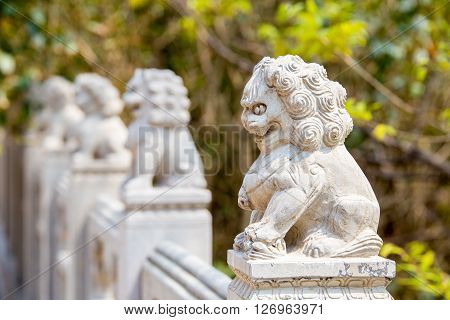 Laoshan China 21/04/2016 Row of fierce stone lion figures outside handrail decoration in a temple in LaoshanChina on a sunny day