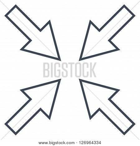 Compact Arrows vector icon. Style is contour icon symbol, smooth blue color, white background.