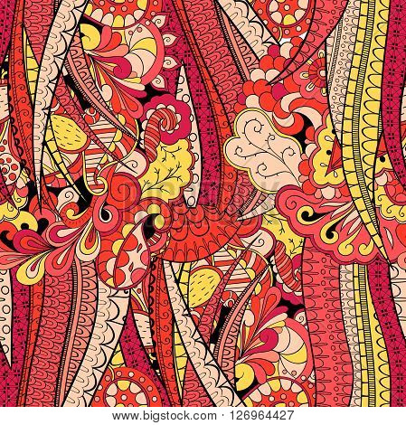 Tracery Seamless Calming Pattern. Mehendi Design. Neat Even Red Harmonious Doodle Texture. Algae Sea