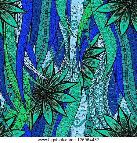 Tracery Seamless Calming Pattern. Mehendi Design. Neat Even Blue Harmonious Doodle Texture. Algae Se