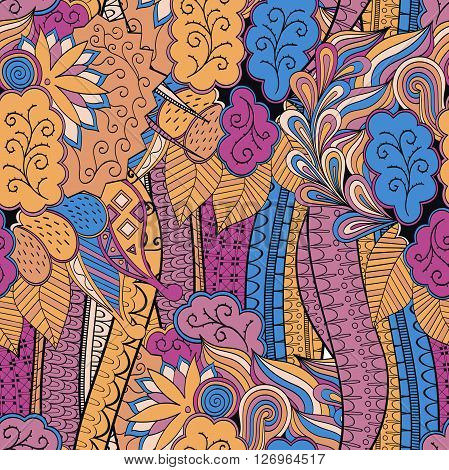 Tracery Seamless Calming Pattern. Mehendi Design. Neat Even Colorful Harmonious Doodle Texture. Alga