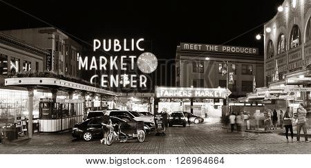 SEATTLE, WA - AUG 14: Public Market Center in downtown on August 14, 2015 in Seattle. Seattle is the largest city in both the State of Washington and the Pacific Northwest region of North America