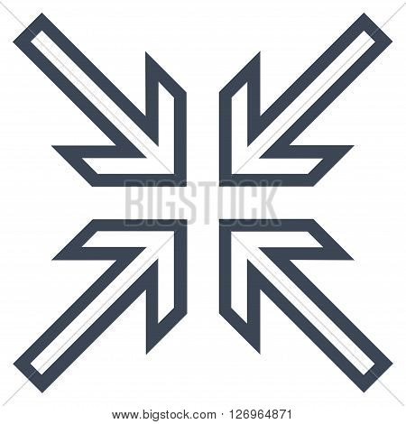 Implode Arrows vector icon. Style is contour icon symbol, smooth black  color, white background.