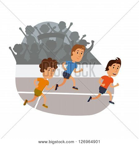 A group of men running. Running competition. Group of man run together. Jogging cartoon character. Sprint marathon. Sport and activity people. Fans at the stadium.