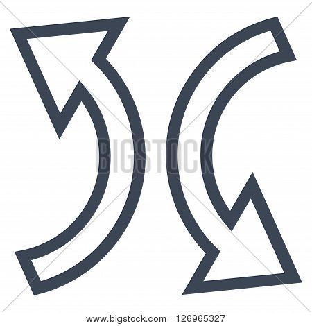 Replace Arrows vector icon. Style is outline icon symbol, smooth blue color, white background.
