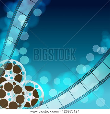 Cinema blue background with retro filmstrip film reel. Vintage movie abstract background. vector