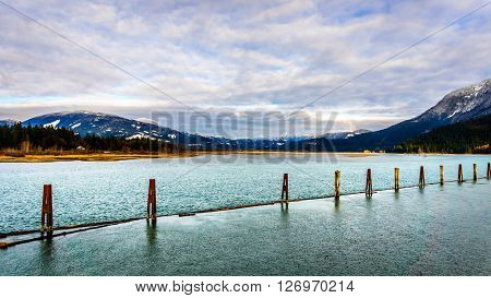 the harrison river at harrison mills on a winter day as it flows south the join the fraser river in british columbia, canada