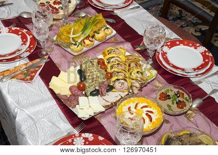 Traditional home made food on Christmas table