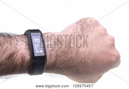Sports activity watch band with heart rate monitor on hand
