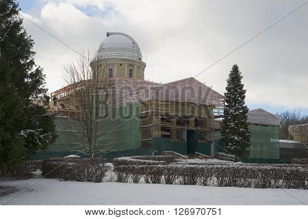 SAINT PETERSBURG, RUSSIA - FEBRUARY 17, 2016: Repair of the main building of the Pulkovo astronomical. The landmark of Saint-Petersburg, Russia
