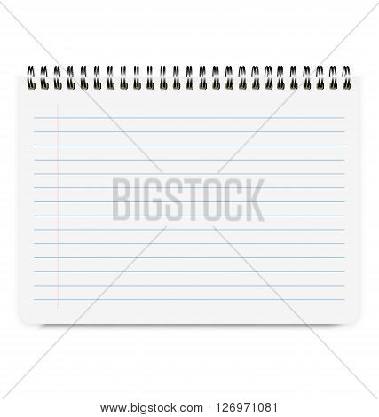 Realistic Notebook Size A4 with Horizontal Line Isolated On White Background