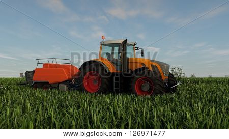 3d rendering of a tractor and fertilizing machine
