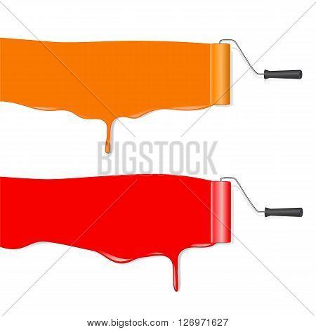 roller brush painting orange and red banner over white background. vector illustration