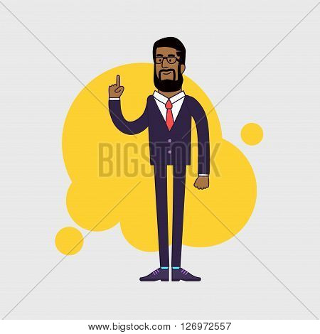 Vector illustration of African American businessman showing his forefinger. Good idea or attention gesture. Linear flat design