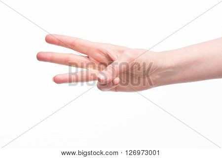 Old woman's hand demonstrating three fingers over white background. Woman showing three ideas for your own future business projects.