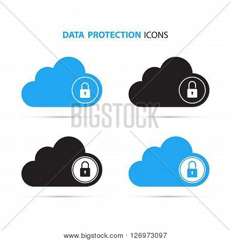 Cloud computing and protecting data icons. Secure cloud technology. Lock and unlock. Vector Illustration.