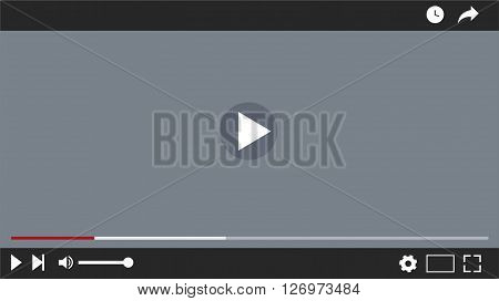 video player interface , vector lillustration , flat design