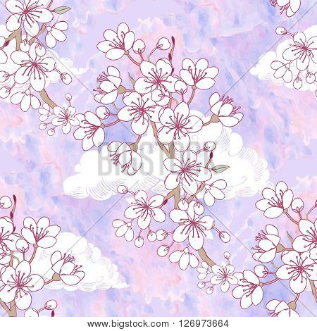 Seamless pattern  with sakura and clouds. Hand drawn spring blossom trees. Vector illustration with cherry blossoms.