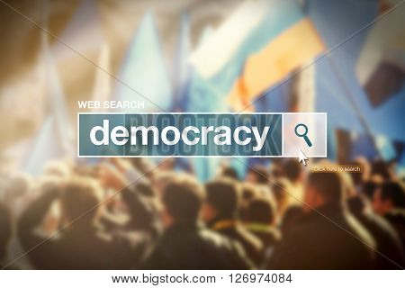 Web search bar glossary term - democracy definition in internet glossary.
