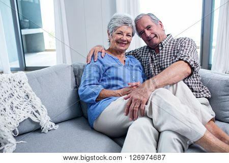 Portrait of senior couple embracing each other on sofa in living room
