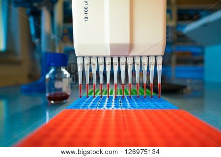 multi-channel pipet used for pipetting a 96 well plate with pink solution