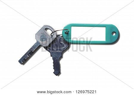 Keys with blank key fob, isolated on white background