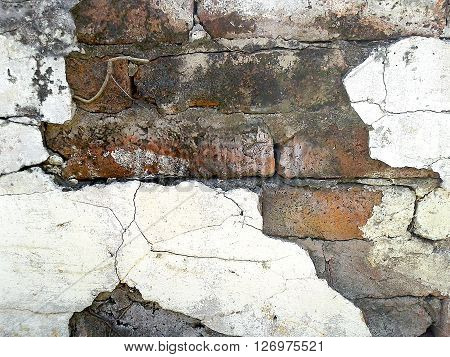 Cracked concrete white wall texture and background