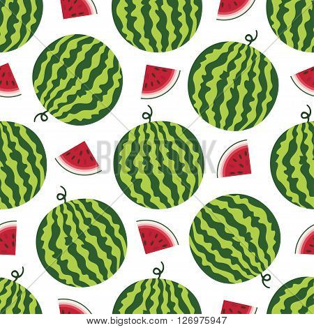Vector seamless pattern with fresh ripe watermelon. Watermelon vector illustration. Summer concept. Watermelon Slice and round striped watermelon