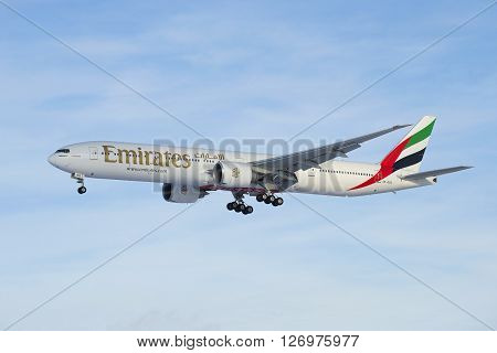SAINT PETERSBURG, RUSSIA - FEBRUARY 17, 2016: Airplane Boeing 777--31 HER (A6-EGO) Emirates Airline Company. View profile
