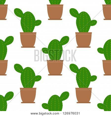 Seamless cactus illustration background pattern in vector. Cartoon Cactus Illustration. Green and exotic cactus plant. Flat style vector illustration of cactus.