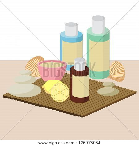 the concept of Spa procedure with stone candles seashells lemon