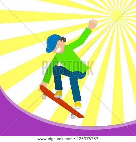 Boy on a skateboard. Skateboarder man jumping sign. Vector  flat Illustration