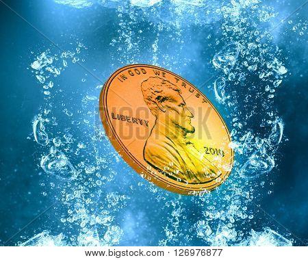 Coin under water