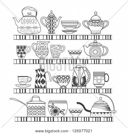 Doodles Abstract illustration set of tea collection with a tea pot tea cup jars jugs on the shelves In black and white. Can use in coloring book for adult and children.