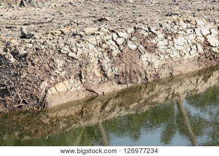 Cracks in the dried soil and pond in arid season