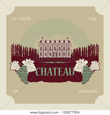 Vintage wine house or wineyard label, vector illustration