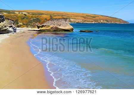 Rural sandy beach with grasslands beyond taken on Santa Rosa Island, CA