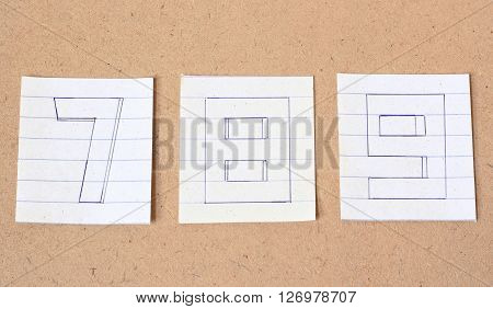 Numbers Number Seven Number Eight Number Nine on wood background vintage tone