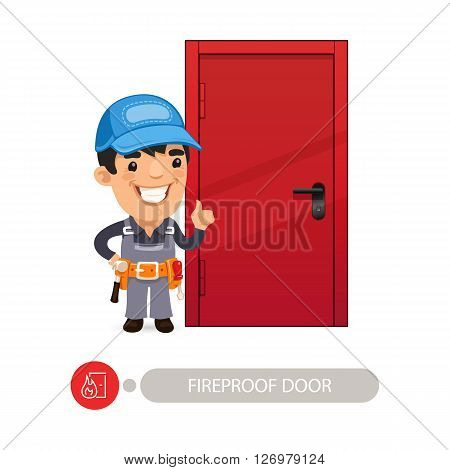 Fireproof Door with Cartoon Worker. Clipping paths included.