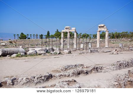 Ruins of the gymnasium in the ancient city of Hierapolis. Turkey.