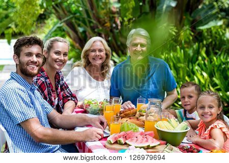 Portrait of happy family having lunch in yard