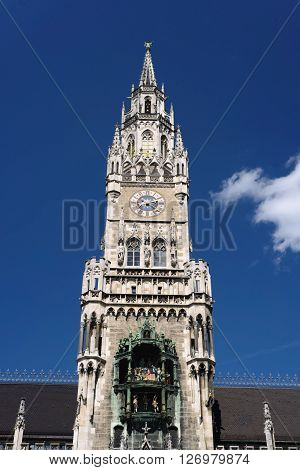 Tower of the new town Hall in Munich, Germany.