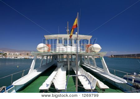 Rear Of Tour Boat At Roquetas Del Mar Port In Spain
