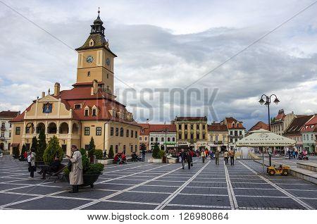 Brasov, Transylvania, Romania- April 29, 2015: Brasov Council Square is historical center of city.