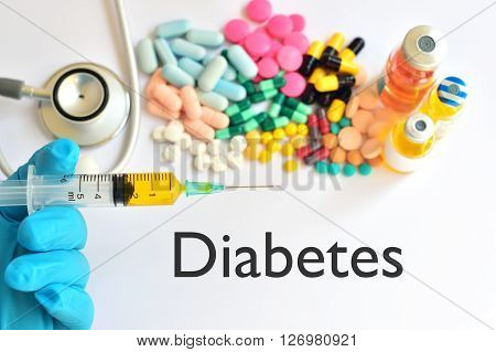 The syringe with drugs for diabetes treatment