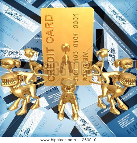 3D Credit Card Concept Card Security Guard Dogs