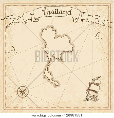 Thailand Old Treasure Map. Sepia Engraved Template Of Pirate Map. Stylized Pirate Map On Vintage Pap